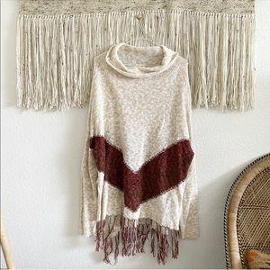 Mossimo Supply Co. Boho Fringe Poncho Sweater
